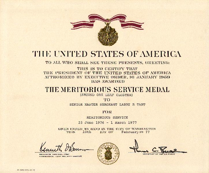 Meritorious service medal citation examples citation to accompany the